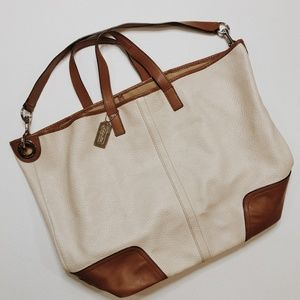 • COACH • cream & brown leather travel bag